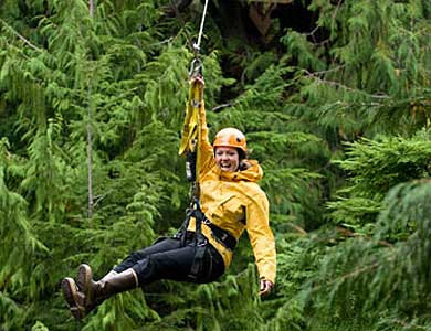 Zipping through the rainforest in Ketchikan Alaska