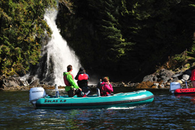 Up close to a waterfall on Ketchikan Alaska Zodiac Tours