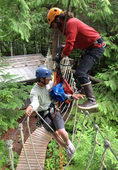 Guiding customers at our Zipline Adventure Park