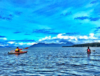 Enjoying a Guided Tatoosh Islands Sea Kayaking Trip in a Double Kayak